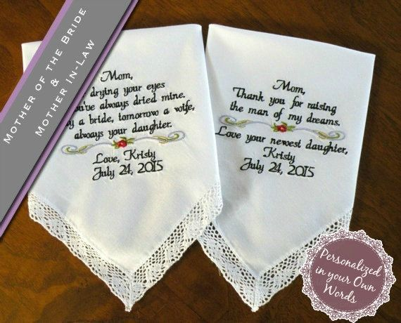 Mother Of The Bride And Groom Embroidered Wedding Handkerchief Set In Law Gift Canyon Embroidery