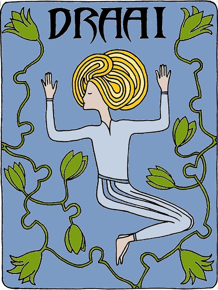 Yoga en tekenen gaan goed samen! En dat gecombineerd met een abstractere jugenstil: I love doing it...