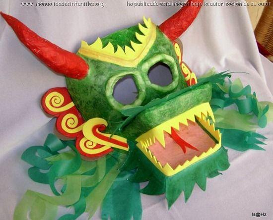 Dragon chino reciclado y receta de papel mach mascaras - Manualidades de papel reciclado ...