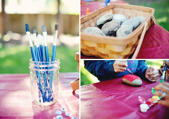 Camp Party – Rock Painting Activity. Already done for hall gift. Might go over well with campers