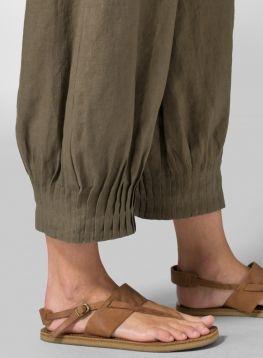 Linen Pleated Cuff Crop Pants