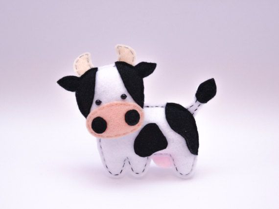 Felt COW stuffed felt Cow magnet or ornament Cow toy Farm
