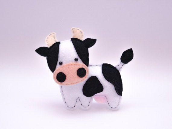 Felt COW stuffed felt Cow magnet or ornament Cow toy Farm