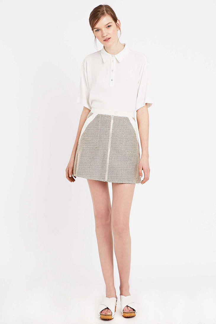 Cooperative by Urban Outfitters Zip-Through A-Line Skirt in Rust - Urban Outfitters