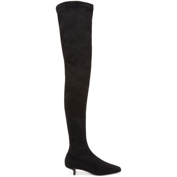 Stella McCartney Black Square Over-the-Knee Boots (€825) ❤ liked on Polyvore featuring shoes and boots