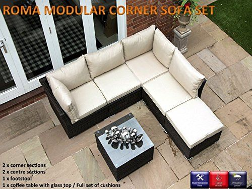 Roma 6pc Rattan Garden Or Conservatory Furniture Corner