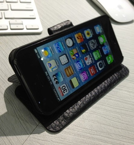 Shot at our offices, this is the iPhone 5 leather folio case, currently in development. :) Will be available soon.