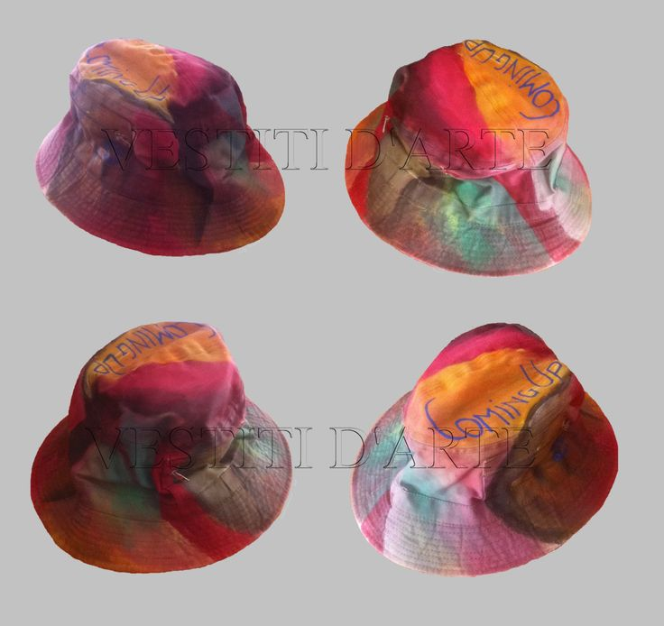 HAND PAINTED HATS mens bucket hat for women boho hat bohemian clothing hats unique funny hat for party hats and caps for men by Vestitidarte
