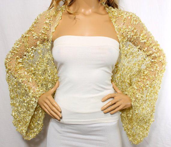 Matrimonio Shrug scrollata di spalle oro maglia Cover Ups di Arzus