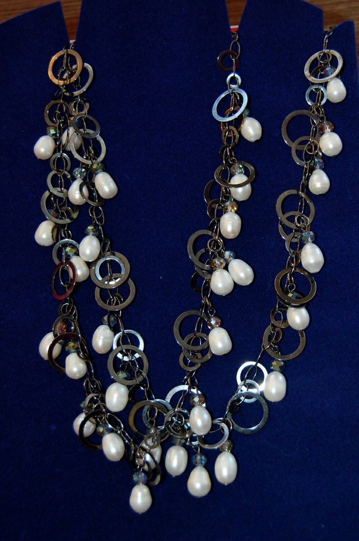 Jewelled Designs - Pearl and Gun Metal Necklace, $60.00 (http://jewelled-designs.mybigcommerce.com/pearl-and-gun-metal-necklace/)