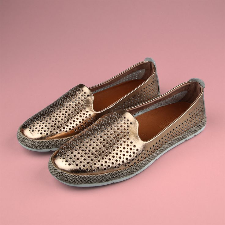 Shine bright in the hottest trend of the year. Featuring: Laguna Quays 'Legend' loafers. Shop: https://www.shoeconnection.co.nz/womens/shoes/flats/laguna-quays-legend-punched-leather-sip-on-shoe?c=Rose%20Gold