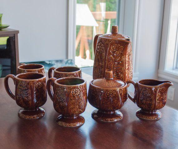 Ensemble à café ou thé Vintage brun Giftcraft avec par 3rvintages