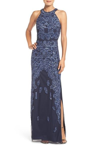 Aidan Mattox Beaded Mesh Gown available at #Nordstrom