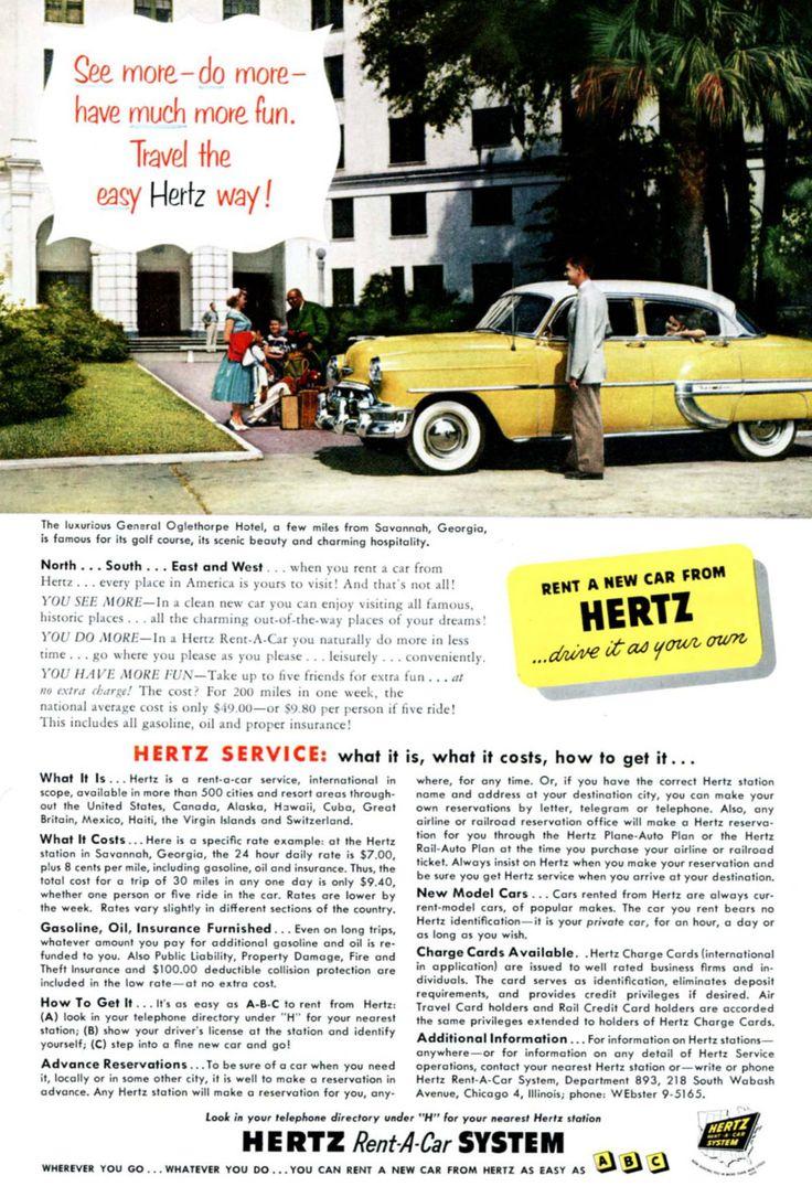 Savannah Georgia General Oglethorpe Hotel 1950s Hertz Vintage Ad Al Car By On Etsy Https