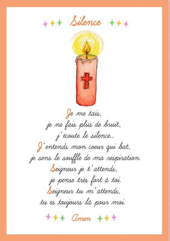 """Carte prière sur le silence. Cette carte prière est disponible dans le numéro """"Comment on fait pour lui parler à Dieu?"""" de Cap P'tit Vent, le journal gratuit pour l'éveil à la foi, édité par le diocèse de Lyon. Il peut-être téléchargé ici : http://initiationchretienne-lyon.cef.fr/cap-p-tit-vent.html"""