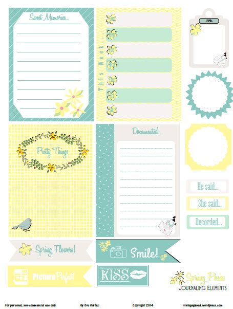 Free printable pdf download with Spring themed journaling cards and journaling elements of your pocket scrapbooking use. Free printable for personal use only.