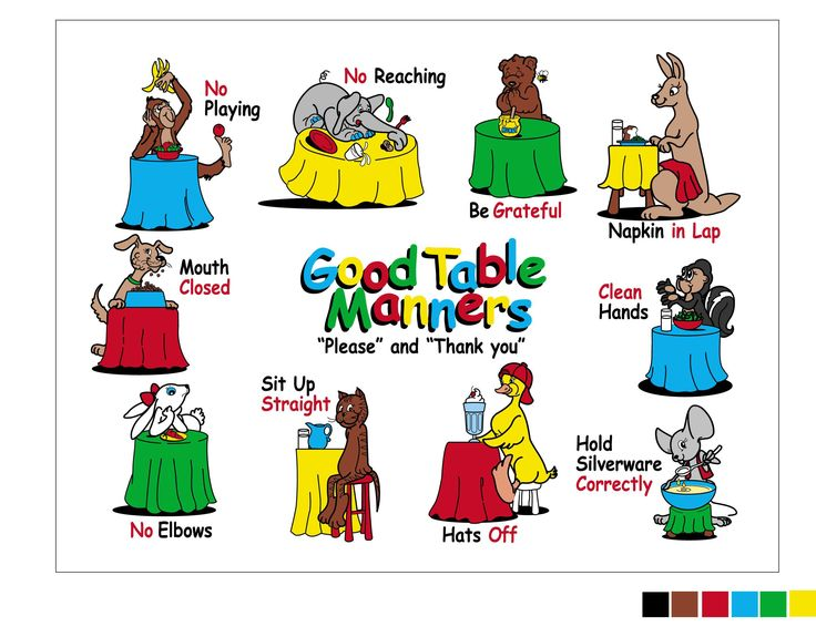 The Good Table Manners Placemat for teaching 3-9 year olds from Self Presentations. www.selfpresentations.com  Wholesale and Retail  laminated for easy cleaning