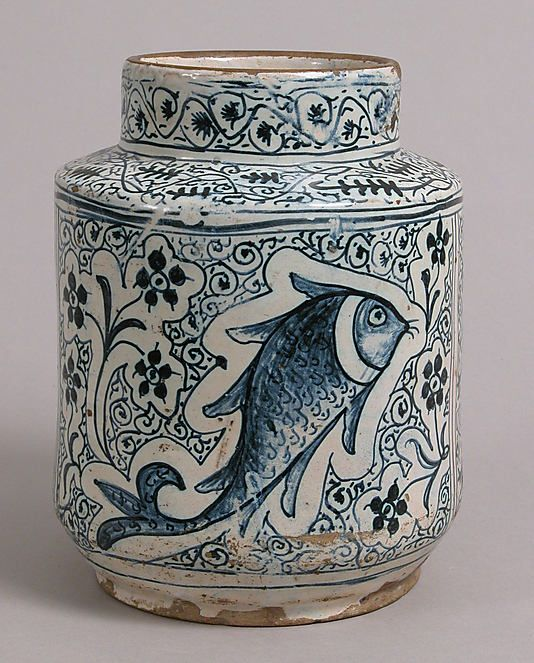 Florentine pharmacy jar, early 15th century. Tin-glazed earthenware. Metropolitan Museum of Art.