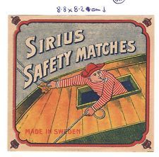 OLD MATCHBOX LABEL PACKET SIZE SWEDEN SIRIUS SAFETY MATCHES