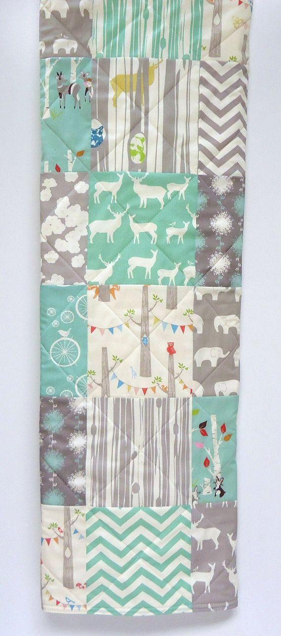 Modern-Baby Quilt-Organic Rustic Baby Boy Bedding-Birch Fabric-Chevron-Gray-Grey-Aqua-Woodland Animal-Elk-Elephant-Deer Baby Blanket-$105