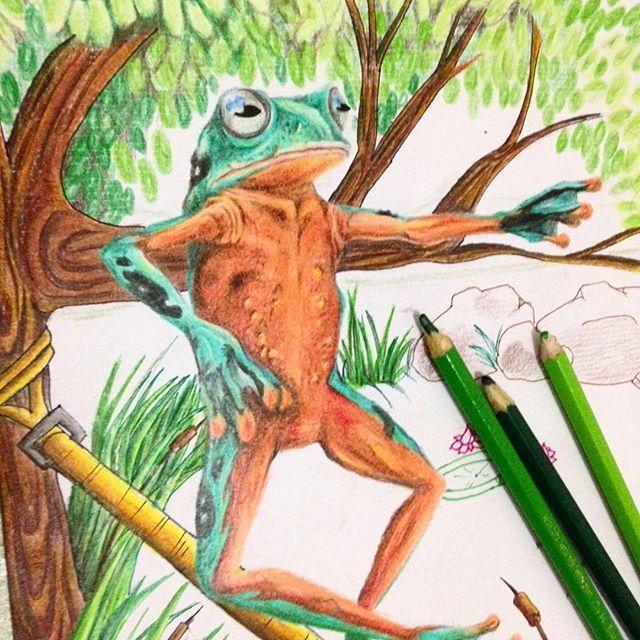 Slackfrog ... mais uma faze #desenho #art #arte #frog #slackline #lapisdecor