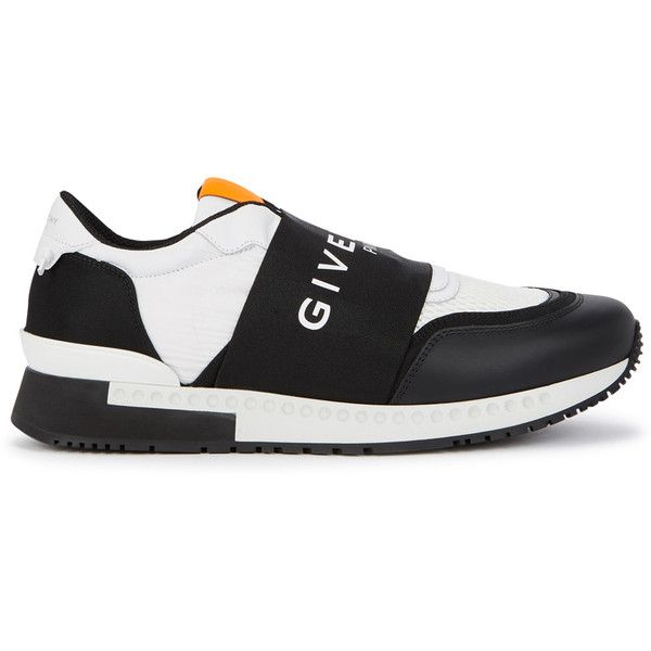 Givenchy Monochrome Panelled Trainers - Size 11 ($700) ❤ liked on Polyvore featuring shoes, sneakers, givenchy sneakers, neon sneakers, rubber sole shoes, slip on sneakers and perforated leather shoes
