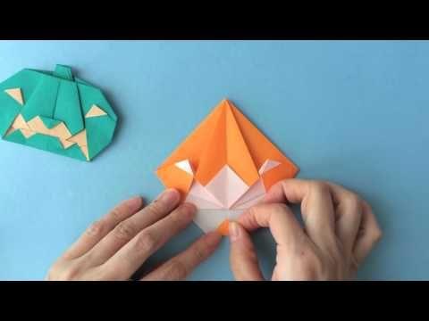 【ハロウィン】折り紙1枚で!★かぼちゃのせおばけ Pumpkin&Ghost (カミキィ kamikey) - YouTube