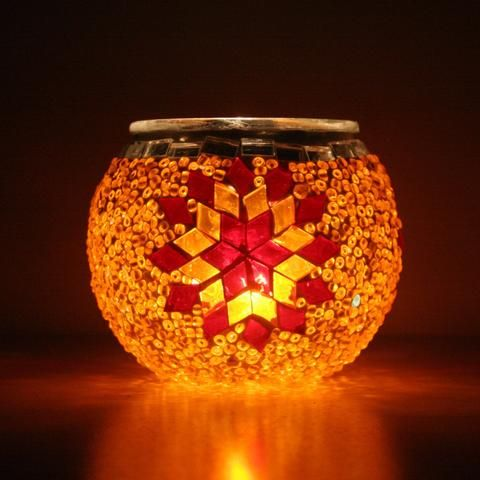 Turkish Orange & Red Mosaic Tea Light Holder