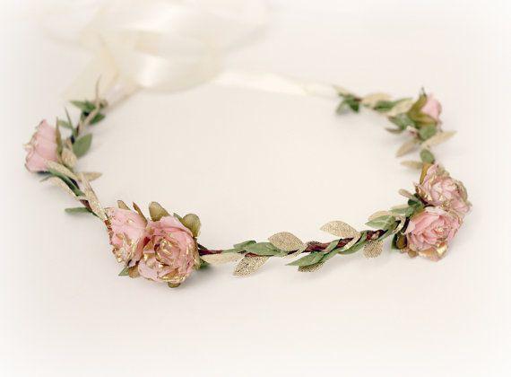 Pink Gold Rose Floral Crown flower crown by rosesandlemons on Etsy