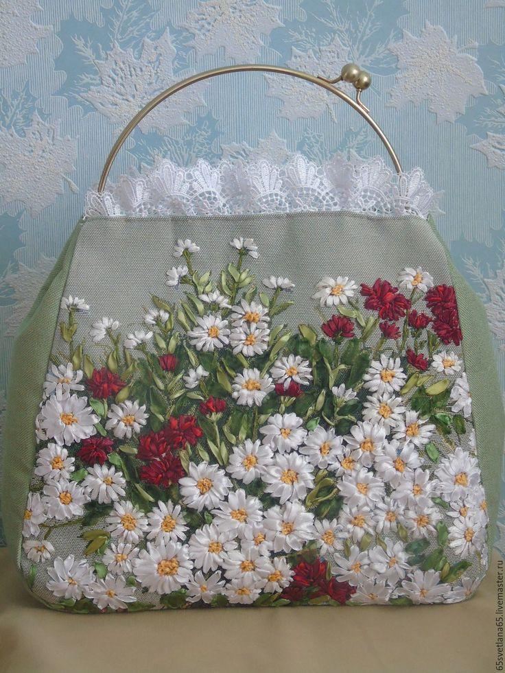 """Купить Сумочка, вышитая лентами """" Лето"""" - комбинированный, женская сумочка, ткстильная сумочка"""