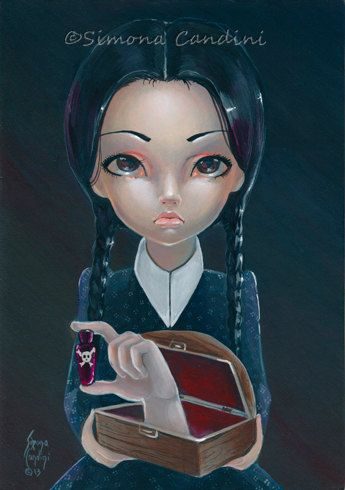 Mercredi Addams et chose signent Simona impression Mini Candini gothique grand yeux Lowbrow Art