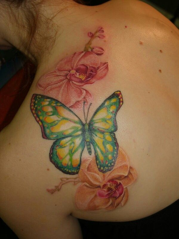 Butterfly & Orchids Tattoo