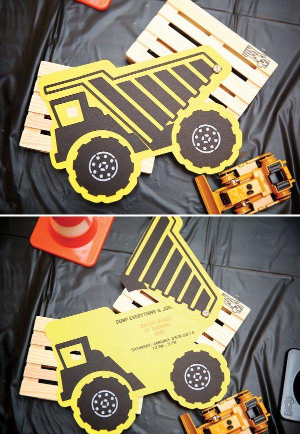 constructon birthday party dump truck invitation
