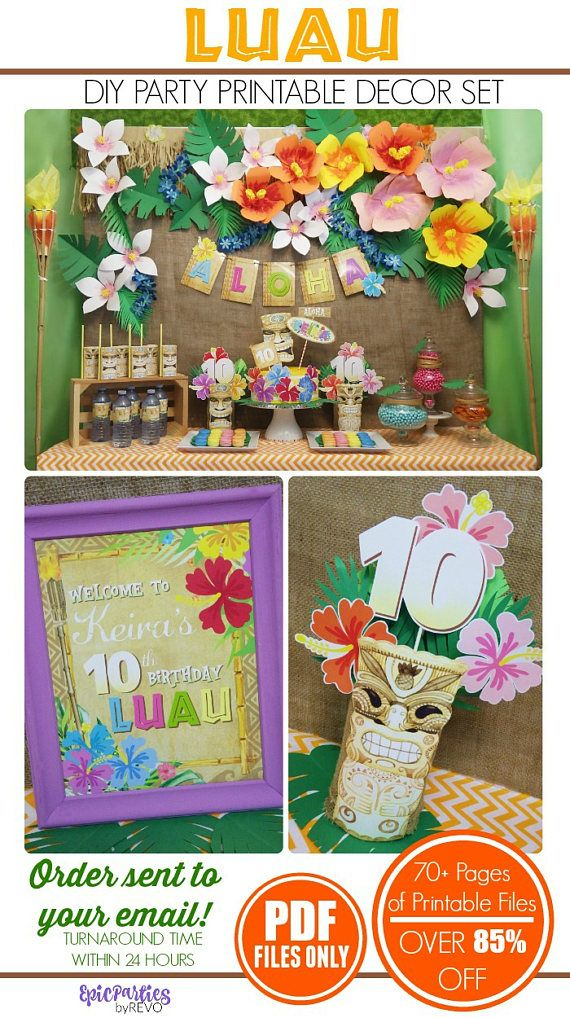85% OFF | Luau Party Printable | Luau Party Decoration | Luau Birthday | Tiki Party | Luau Birthday Decoration | Epic Parties by REVO