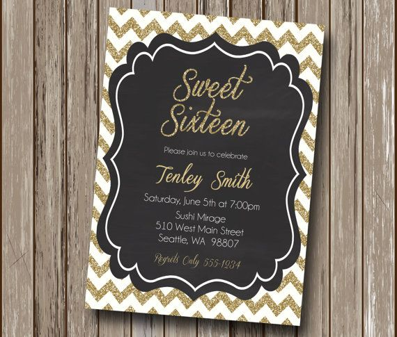 Glam Gold and Black Glitter Chevron Sweet Sixteen Birthday Party Invitation - Personalized - Digital You Print File - You Print