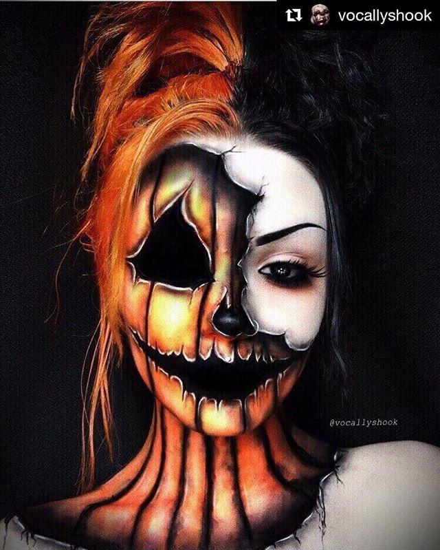 Pumpkins Scream Halloween Makeup Body Painting Art Idea From