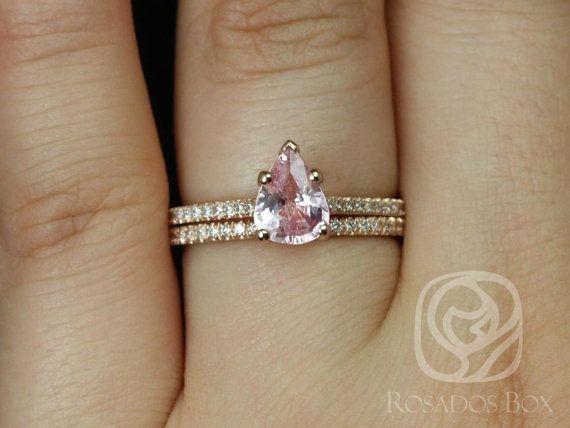 Rosados Box Ann 109cts 14kt Rose Gold Pear Peach Blush Sapphire And Diamonds Cathedral Classic Wedding Set