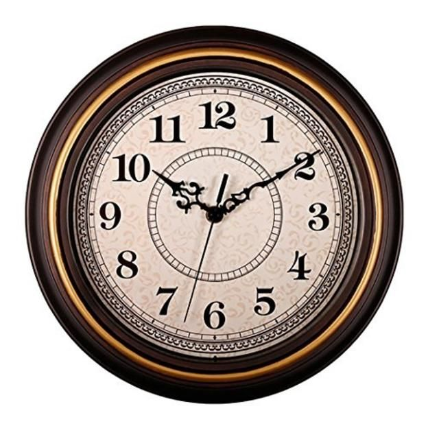 Aioloc Aioloc Decorative Vintage Style Wall Clock Silent Nonticking Round 12 Inch Imitate Wooden Wall C Antique Wall Clocks Retro Wall Clock Vintage Wall Clock
