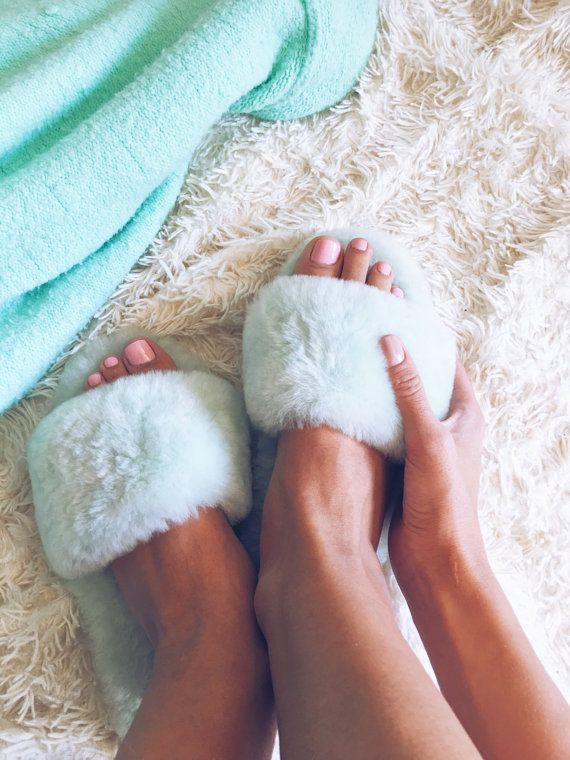 fluffy sheep wool slippers  womens fluffy slippers  от EcoMilDecor