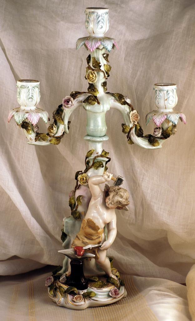 Antique German Sitzendorf Porcelain Candelabra Putto