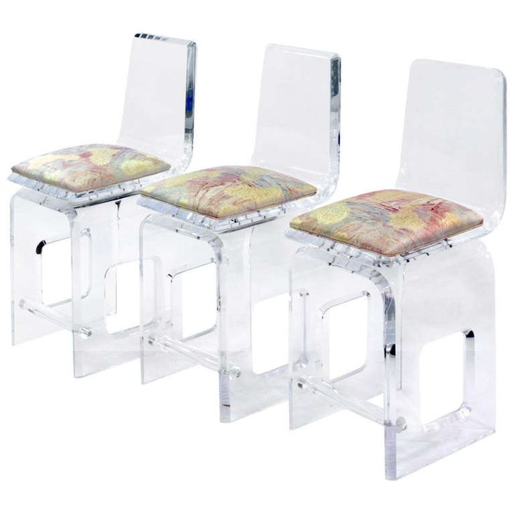 3 thick molded and beveled swiveling lucite bar stools from a unique collection of antique