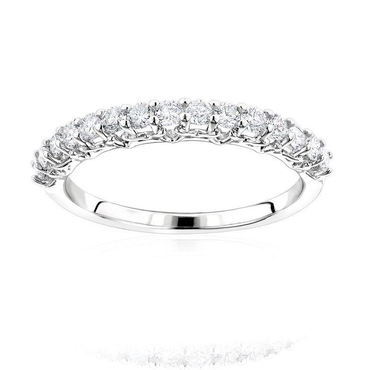 14K Gold Thin Ladies Diamond Wedding Band by Luxurman 0.63ct
