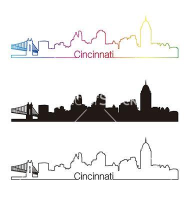 Cincinnati skyline linear style with rainbow vector 1995171 - by paulrommer on VectorStock®