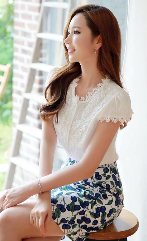 StyleOnme_Cherry Print Pencil Skirt #cherry #patterned #print #skirt #feminine #cute #pretty #koreanfashion #kstyle #korean #model #summer #elegant