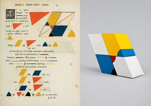 helen friel - here's looking at euclid (paper sculptures of mathematician oliver byrne's illustrations of euclid's elements, 2012)