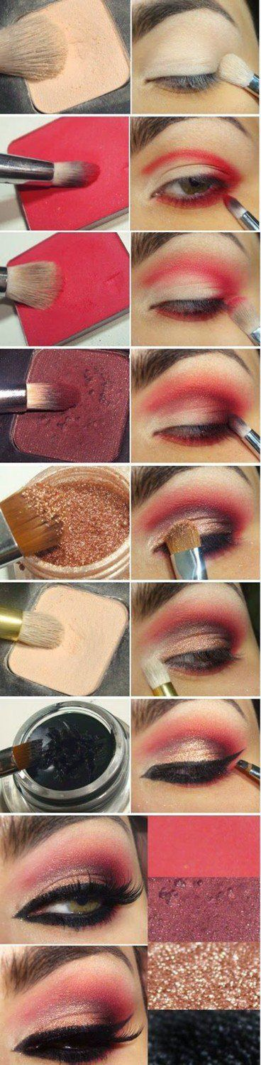 Sexy Red Eyeshadow Tutorial For Beginners   12 Colorful Eyeshadow Tutorials For Beginners Like You! by Makeup Tutorials at http://makeuptutorials.com/colorful-eyeshadow-tutorials-for-beginners/