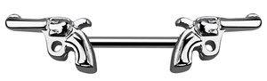 Brust Piercing Schmuck Stab in 1,6 mm mit Revolver, 10-16 mm
