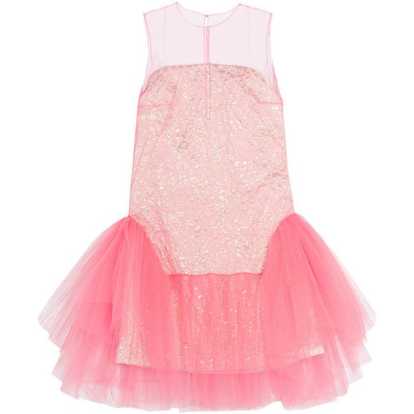 DELPOZO Tulle and jacquard mini dress (30.509.195 IDR) ❤ liked on Polyvore featuring dresses, pink, floral mini dress, pink mini dress, short dresses, floral dresses and floral cocktail dresses