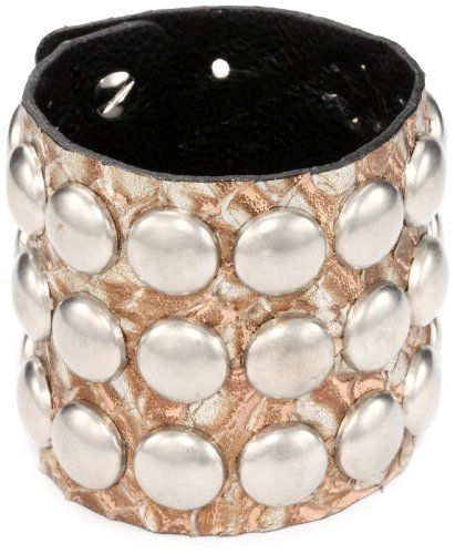 "Streets Ahead 2 3/8"" Embossed Italian Gold Leather Dome Studs with Cuff Bracelet Streets Ahead. $21.07. Studded with silver matte dome studs. Made in United States. Made in the United States"