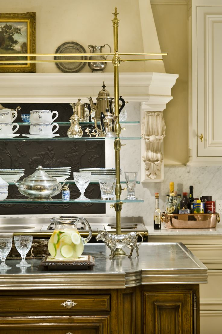 Elegant kitchen - ADORE the freestanding brass fixture on the island, just an all time favorite...